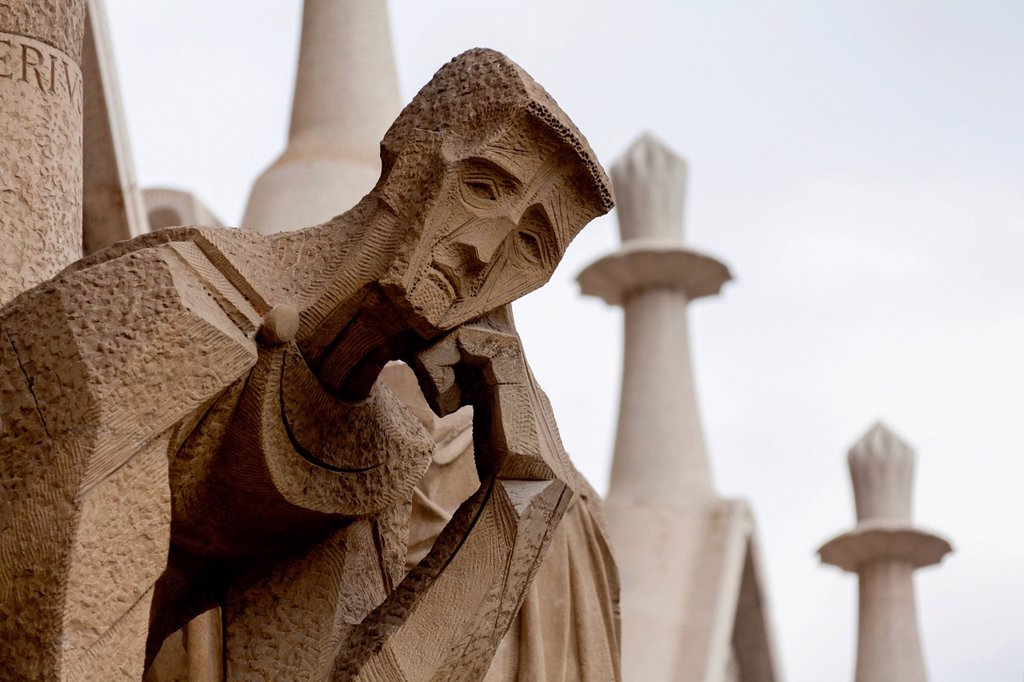 Stock Photo: 1848-564009 Mourner, modern sculpture on the Passion facade, Sagrada Familia church, Temple Expiatori de la Sagrada Família, Antoni Gaudi, a UNESCO World Heritage site, Barcelona, Catalonia, Spain, Europe