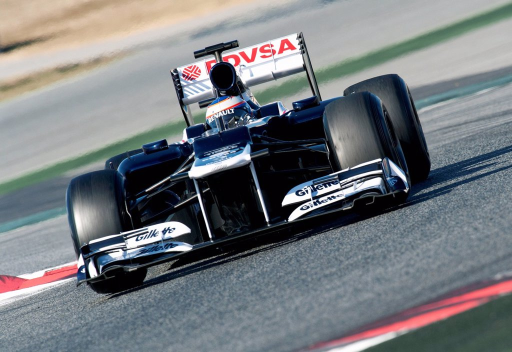 Test driver, Valtteri Bottas, FIN, Williams_Renault FW34, during the Formula 1 testing sessions, 21_24/2/2012, at the Circuit de Catalunya in Barcelona, Spain, Europe : Stock Photo