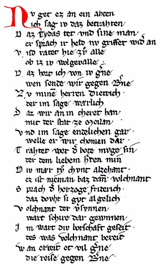 Stock Photo: 1848-564256 Historic print, manuscript, rhyming couplet verses from Dietrich´s Flight, Middle High German heroic epic poem, Rabenschlacht, Raven Battle, 13th Century, from the Illustrated Atlas of the History of German National Literature by Gustav Koennecke, 1887