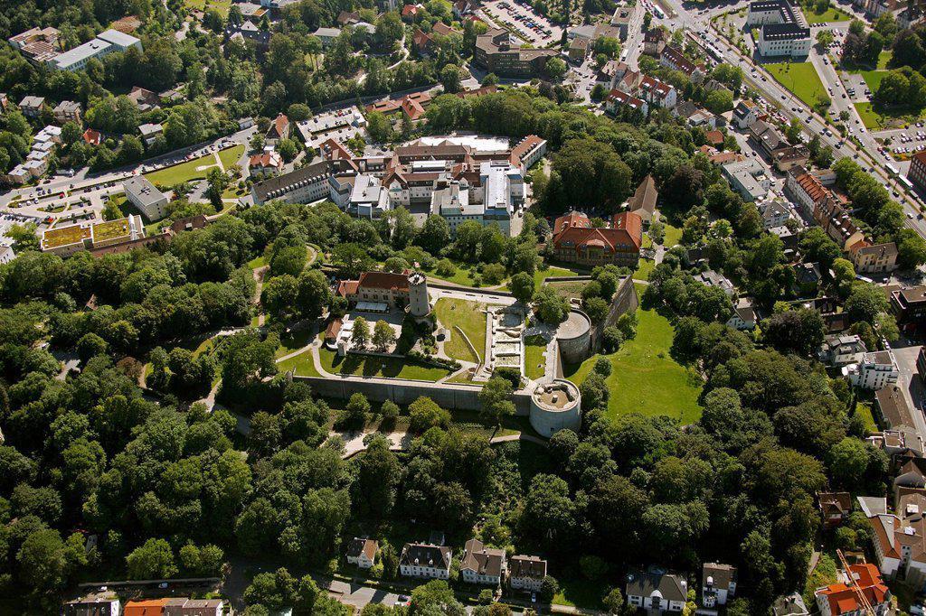 Aerial view, Johannisberg, Sparrenburg castle, castle ruins, Bielefeld, Teutoburg Forest, Ostwestfalen_Lippe region, Westphalia, North Rhine_Westphalia, Germany, Europe : Stock Photo