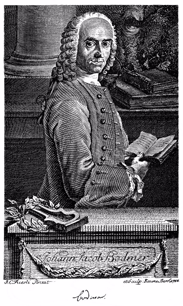 Historic print, copper engraving, 1758, portrait of Johann Jakob Bodmer, 1698 _ 1783, a Swiss philologist, from Bildatlas zur Geschichte der Deutschen Nationalliteratur, an illustrated atlas by Gustav Koennecke, 1887 : Stock Photo