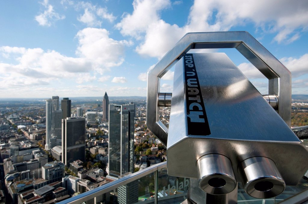 Stock Photo: 1848-564974 Stop´n Watch telescope on the Maintower, view of the skyscrapers in the financial district, Frankfurt am Main, Hesse, Germany, Europe
