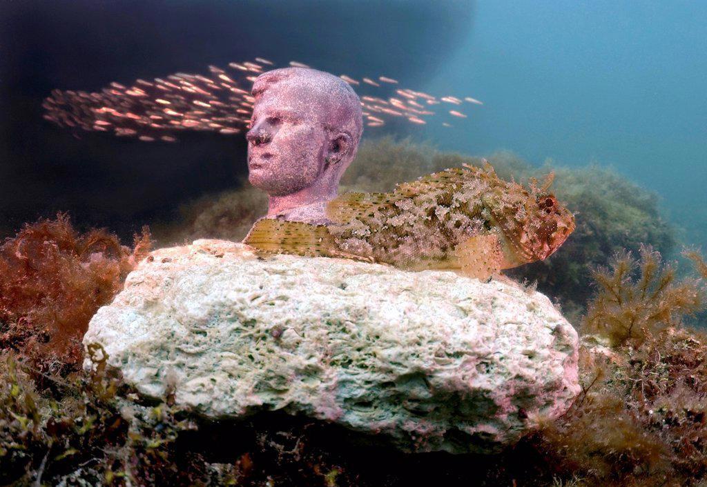 Stock Photo: 1848-565106 Underwater museum ´´Reddening leaders´´, Cosmonaut Yury Gagarin, sculpture, Cape Tarhankut, Tarhan Qut, Crimea, Ukraine, Eastern Europe