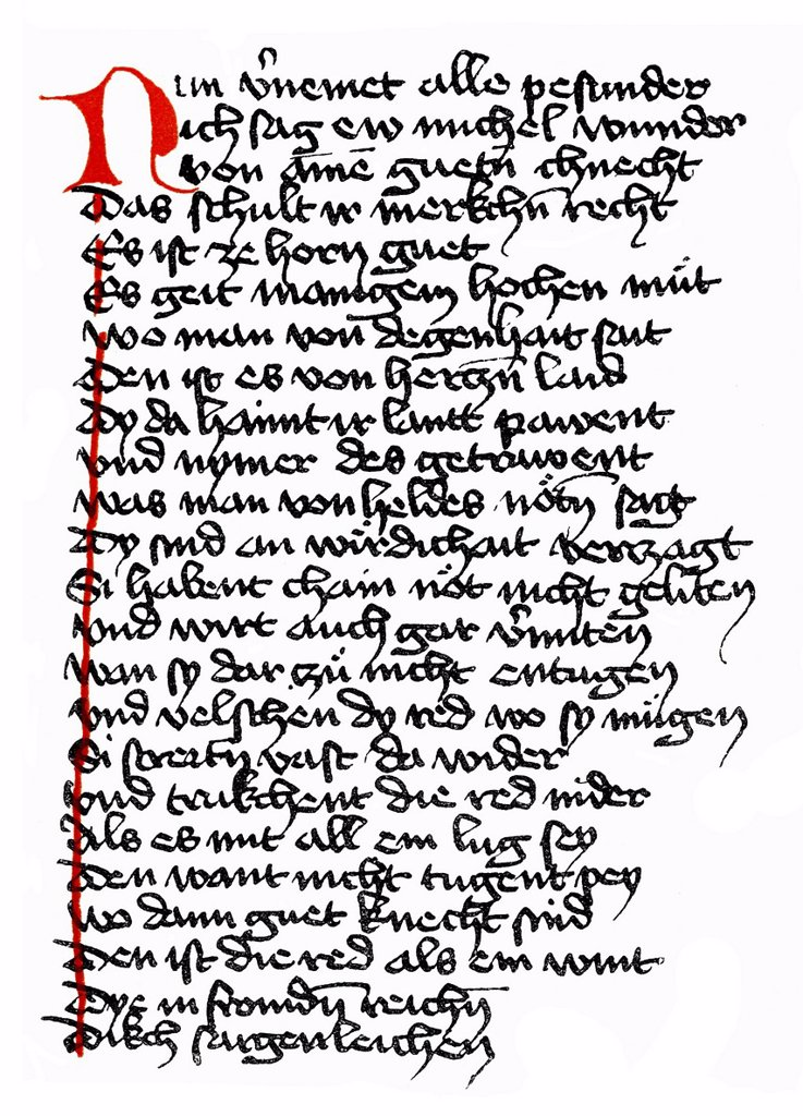 Stock Photo: 1848-565117 Historical print, manuscript, Duke Ernst, a Middle High German verse novel or minstrel poetry of the High Middle Ages, 12th and 15th Century, from the Illustrated Atlas of the History of German National Literature by Gustav Koennecke, 1887