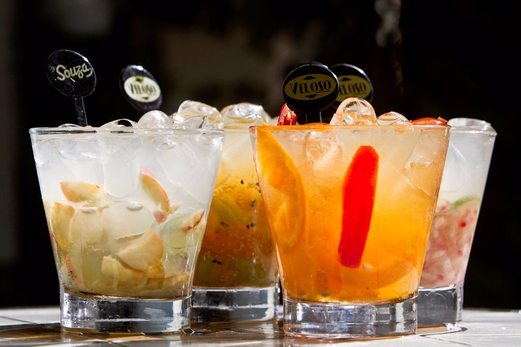 Stock Photo: 1848-565296 Variety of caipirinhas at the Veloso bar, Sao Paulo, Brazil, South America