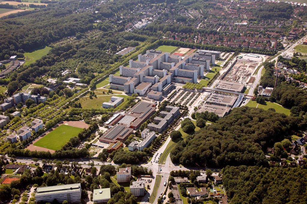 Stock Photo: 1848-565391 Aerial view, University of Bielefeld, Ostwestfalen_Lippe region, Westphalia, North Rhine_Westphalia, Germany, Europe