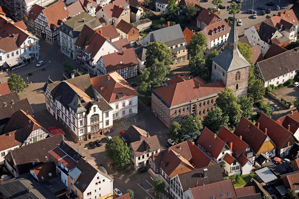 Stock Photo: 1848-565395 Aerial view, historic centre, former Martinikirche or St. Martin´s church, Blomberg, Ostwestfalen_Lippe, eastern Westphalia, North Rhine_Westphalia, Germany, Europe