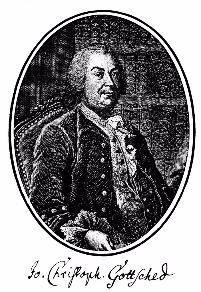 Historic print, copper engraving, 1757, portrait of Johann Christoph Gottsched, 1700 _ 1766, a German writer, dramatist and literary theorists of the Enlightenment, from Bildatlas zur Geschichte der Deutschen Nationalliteratur, an illustrated atlas by Gus. Historic print, copper engraving, 1757, portrait of Johann Christoph Gottsched, 1700 _ 1766, a German writer, dramatist and literary theorists of the Enlightenment, from Bildatlas zur Geschichte der Deutschen Nationalliteratur, an illustrated  : Stock Photo