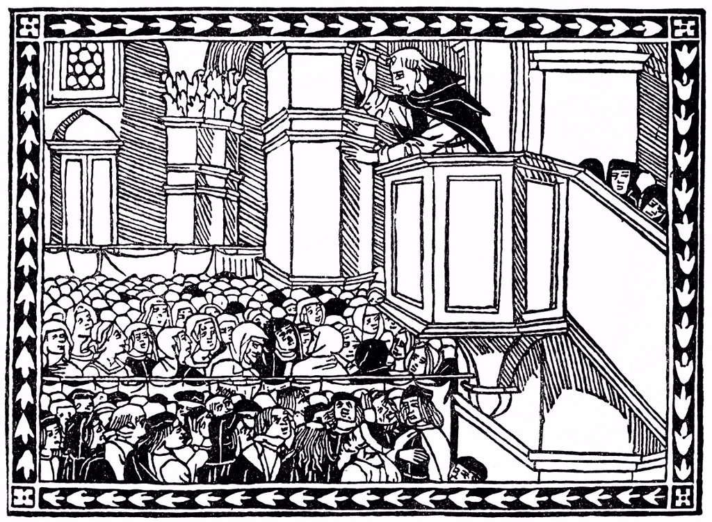 Stock Photo: 1848-565683 Historical print from the 19th century, Girolamo Hieronymus Savonarola preaching from the pulpit, 1452 _ 1498, an Italian Dominican preacher and preacher of repentance