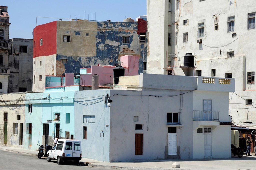Buildings on the Malecon, Avenida de Antonio Maceo, a boulevard along the city center of Havana, Centro Habana, Cuba, Greater Antilles, Gulf of Mexico, Caribbean, Central America, America : Stock Photo