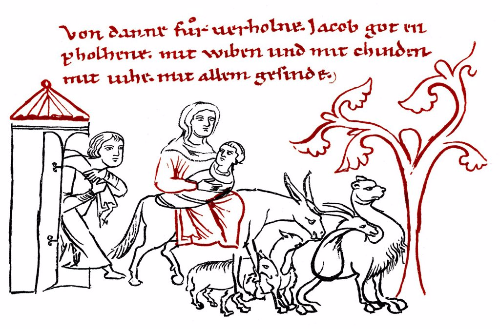 Stock Photo: 1848-565985 Historic print, Jacob´s Departure, Millstaett Manuscript, an illustrated manuscript written in southern Bavarian Early Middle High German, 12th Century, from the Illustrated Atlas of the History of German National Literature by Gustav Koennecke, 1887