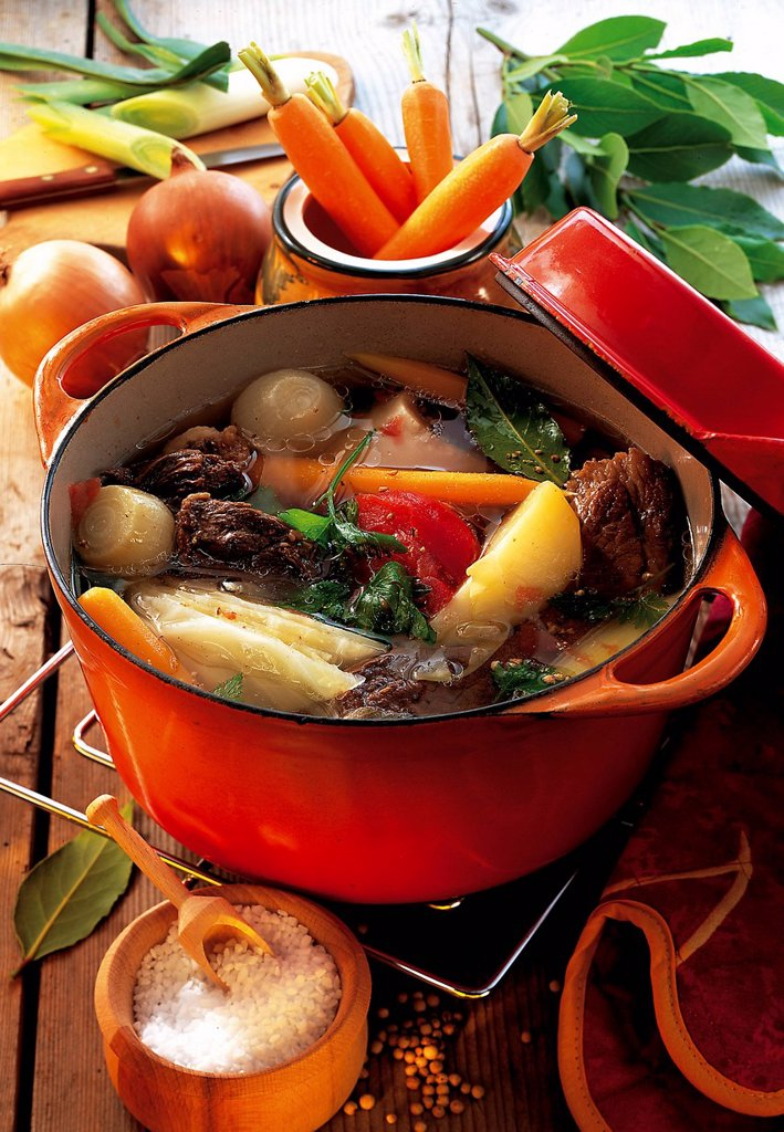 Pot au Feu, boiled beef with root vegetables and cabbage, France, recipe available for a fee : Stock Photo