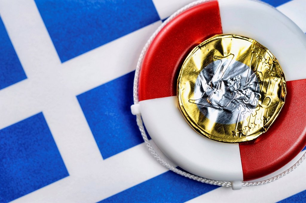 Stock Photo: 1848-566139 Euro coin made from crumpled foil on a life buoy and the Greek flag, symbolic image, euro rescue for Greece