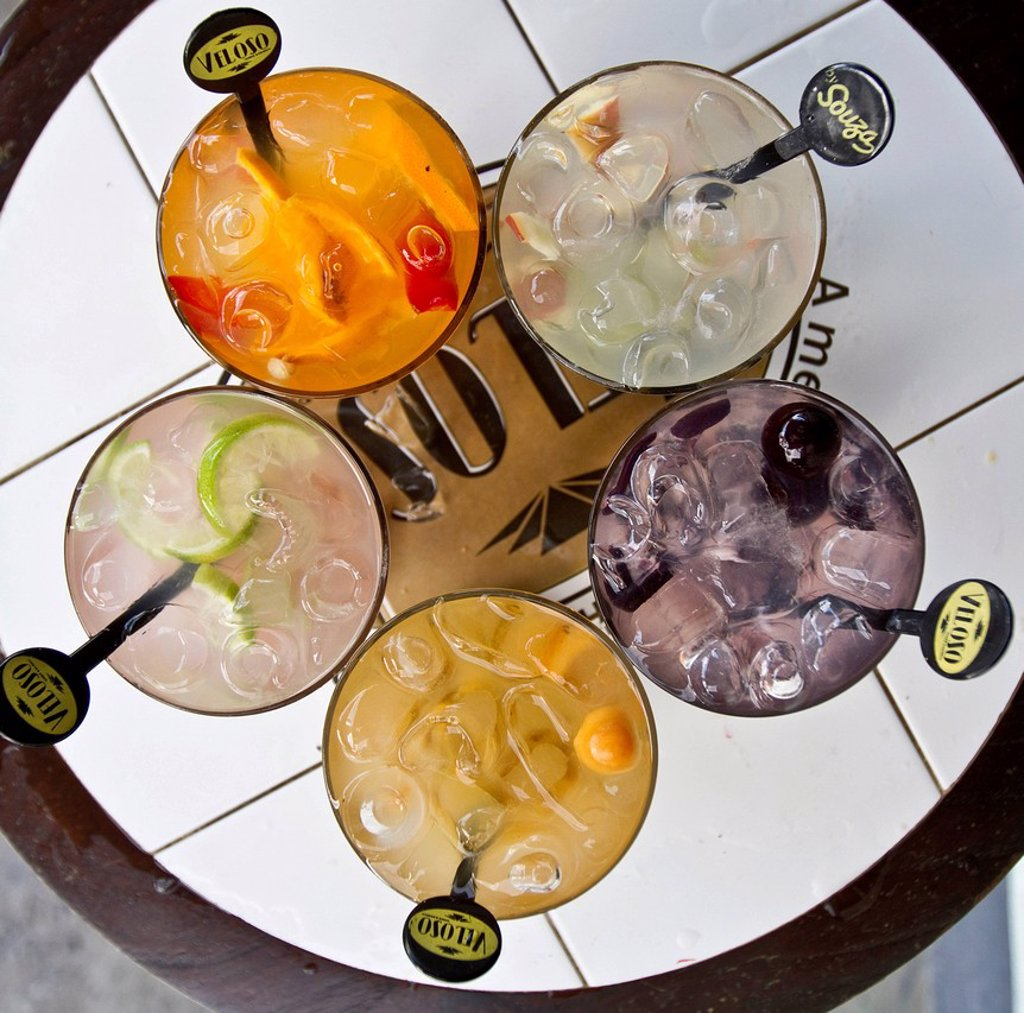Stock Photo: 1848-566155 Variety of caipirinhas at the Veloso bar, Sao Paulo, Brazil, South America