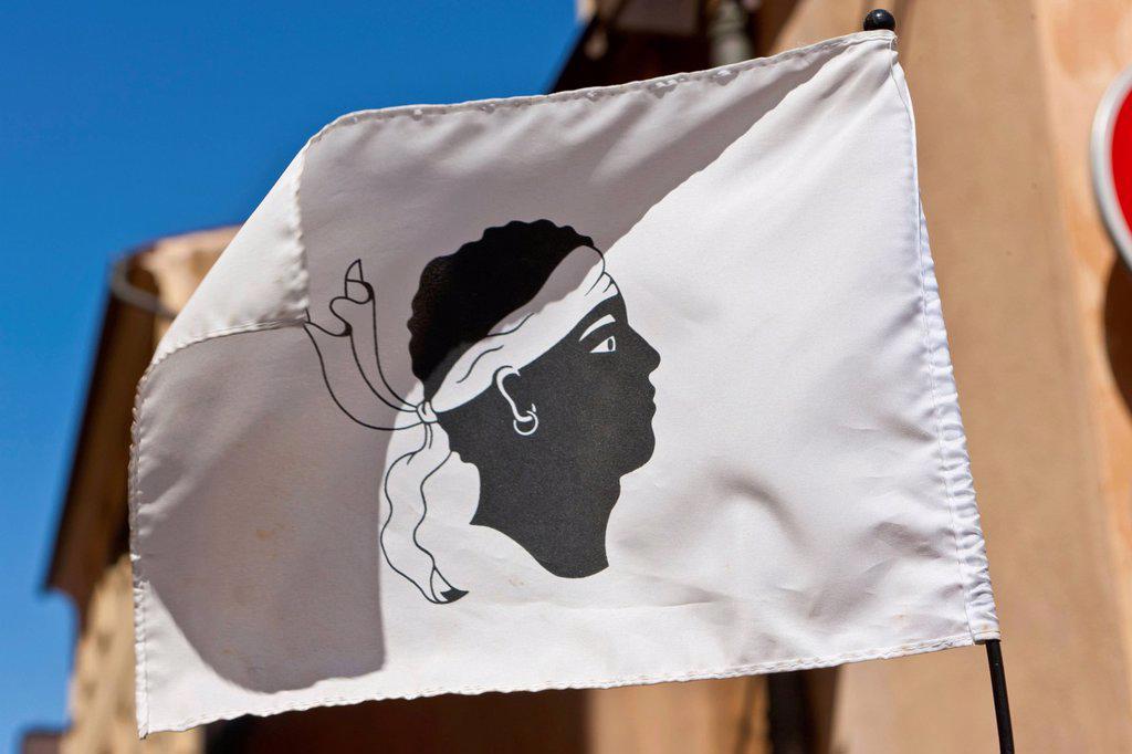 Stock Photo: 1848-566160 Corsican flag, Ajaccio, Corsica, France, Europe