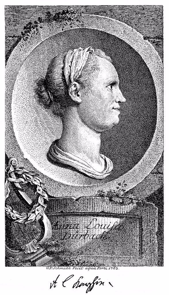 Stock Photo: 1848-566263 Historic print, copper engraving, 1762, portrait of Anna Louisa Karsch also known as Karschin, 1722 _ 1791, a German poet, from Bildatlas zur Geschichte der Deutschen Nationalliteratur, an illustrated atlas by Gustav Koennecke, 1887
