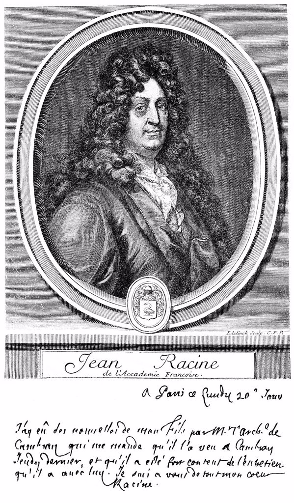 Stock Photo: 1848-566524 Historical print from the 19th century, portrait of Jean Baptiste Racine, 1639 _ 1699, an author of the French classicism