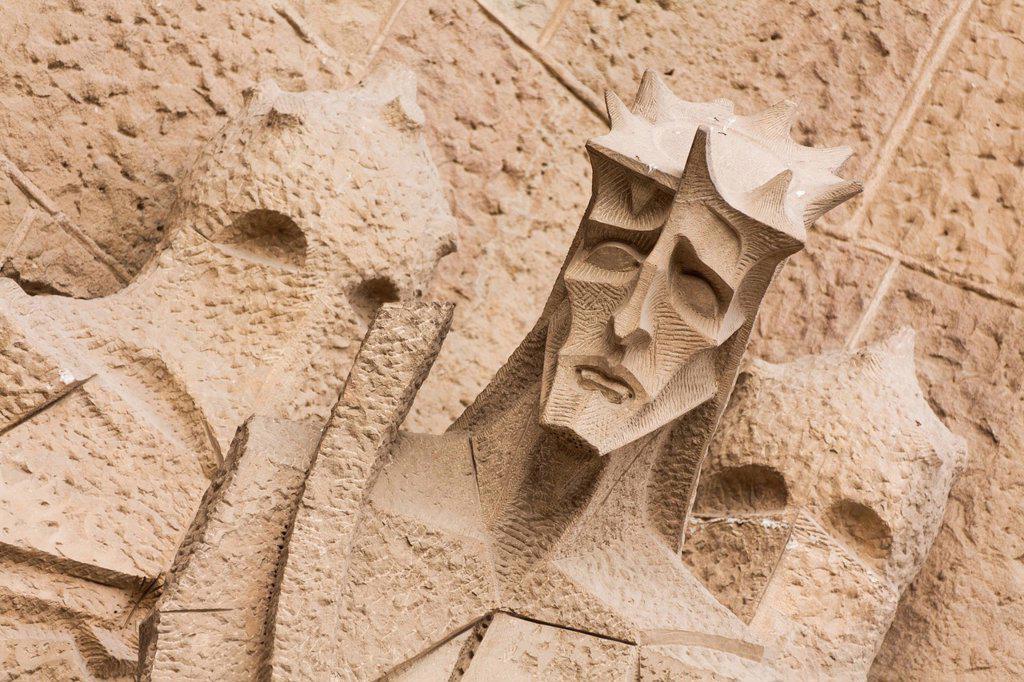 Stock Photo: 1848-566556 Jesus wearing the crown of thorns, a modern stone sculpture on the Passion facade, Sagrada Familia church, Temple Expiatori de la Sagrada Família, Antoni Gaudi, a UNESCO World Heritage site, Barcelona, Catalonia, Spain, Europe