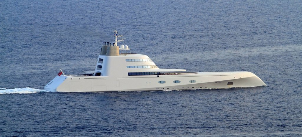 Motor yacht, A, built by Blohm + Voss GmbH, overall length, 119 metres, built in 2008, owned by Andrei Melnichenko, Cote d´Azur, France, Mediterranean, Europe : Stock Photo