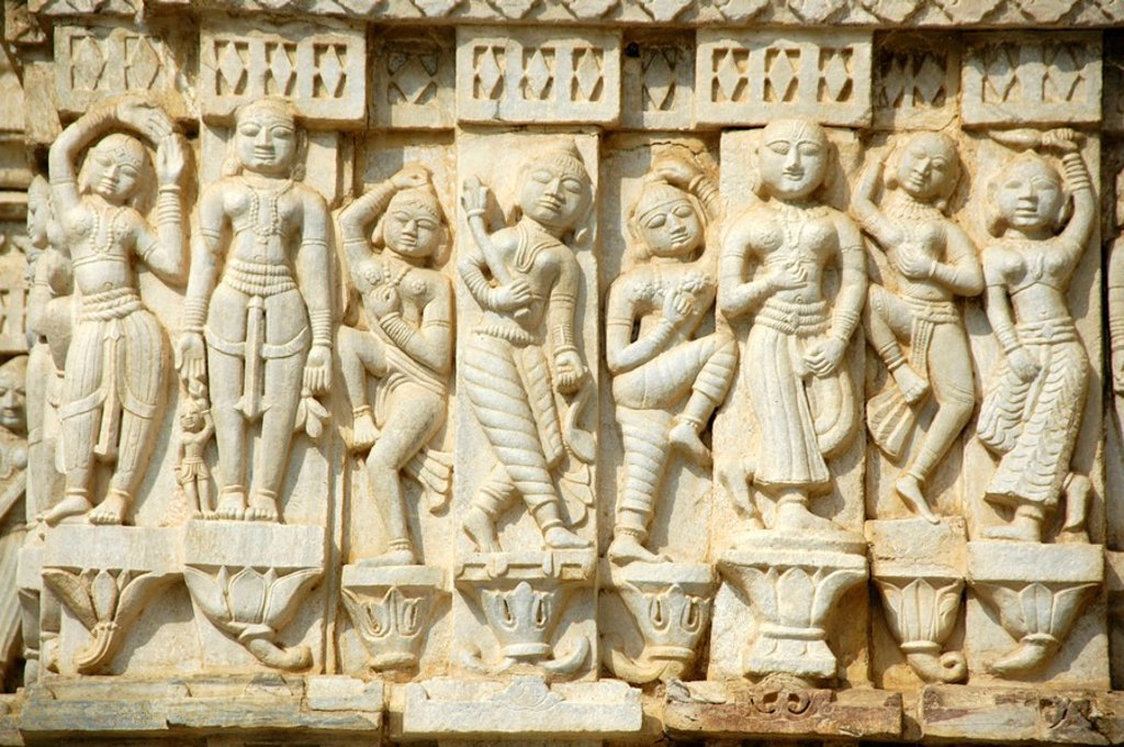 Stock Photo: 1848-56682 Jainism, reliefs carved in white marble, dancing human figures, Jain Temple Ranakpur, Rajasthan, India, South Asia