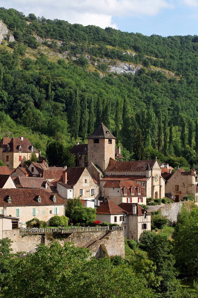 Stock Photo: 1848-566853 Autoire, labelled Les Plus Beaux Villages de France, The Most Beautiful Villages of France, Haut Quercy, Lot, France, Europe