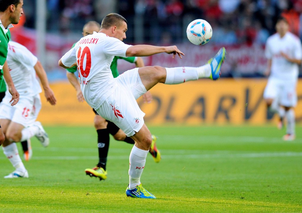 Stock Photo: 1848-567072 Lukas Podolski, FC Koeln, Bundesliga, federal league, 1. FC Koeln _ Hannover 96 2:0, RheinEnergieStadion stadium, Cologne, North Rhine_Westphalia, Germany, Europe