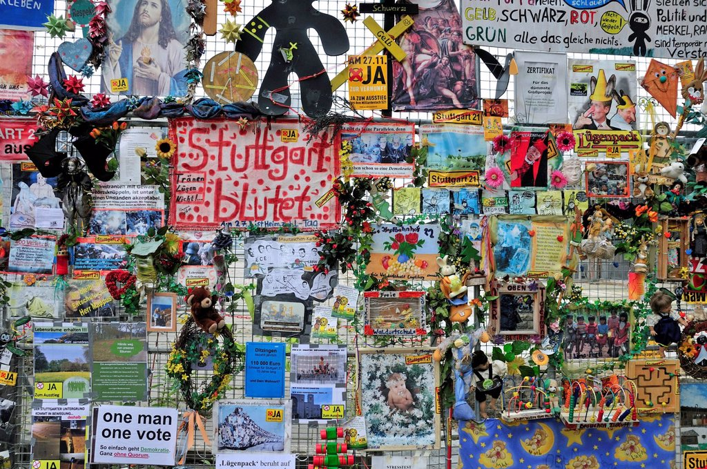 Information and protest flyers, protest against the Stuttgart 21 project outside Stuttgart´s main railway station, north wing, Stuttgart, Baden_Wuerttemberg, Germany, Europe, PublicGround : Stock Photo