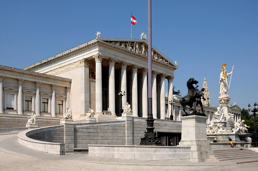Austrian Parliament building, built 1861, sculpture at Pallas Athene at front, Dr._Karl_Renner_Ring, Vienna, Austria, Europe : Stock Photo
