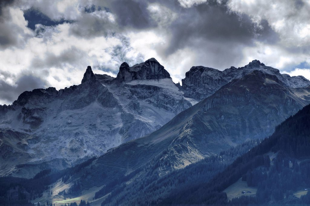 Dri Tuerm mountains, meaning ´´three towers´´, Montafon, Raetikon mountain range, Vorarlberg, Austria, Europe : Stock Photo