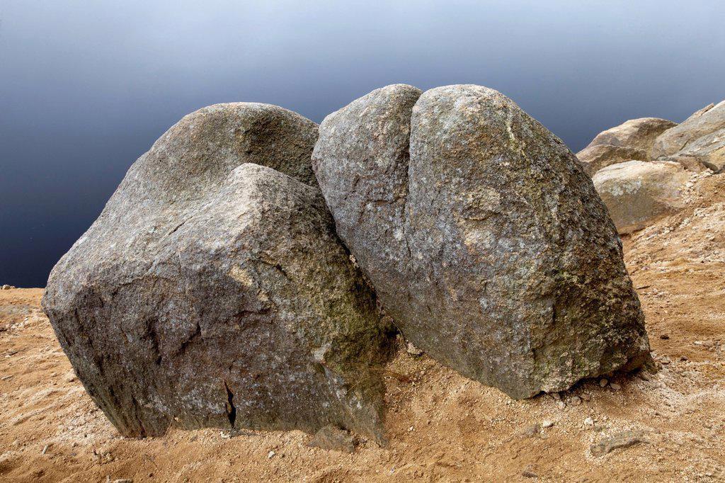 Granite rocks at Talsperre Oderteich reservoir, Harz National Park, Upper Harz, Lower Saxony, Germany, Europe, PublicGround : Stock Photo