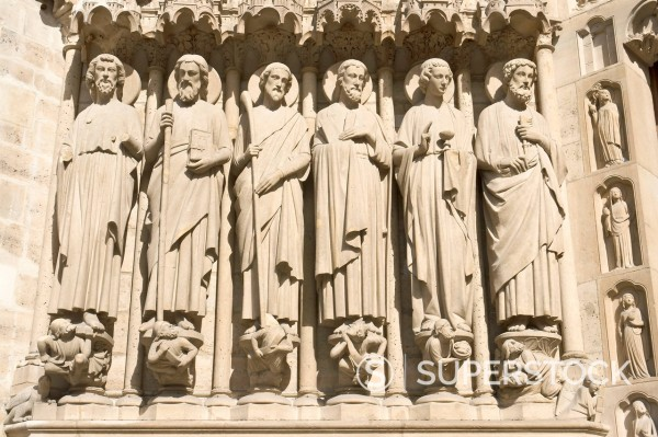 Apostles St Bartholomew, St Simon, St James the Less, St Andrew, St John and St Peter, left side, central portal, Last Judgement portal, Notre_Dame cathedral, Paris, France, Europe : Stock Photo