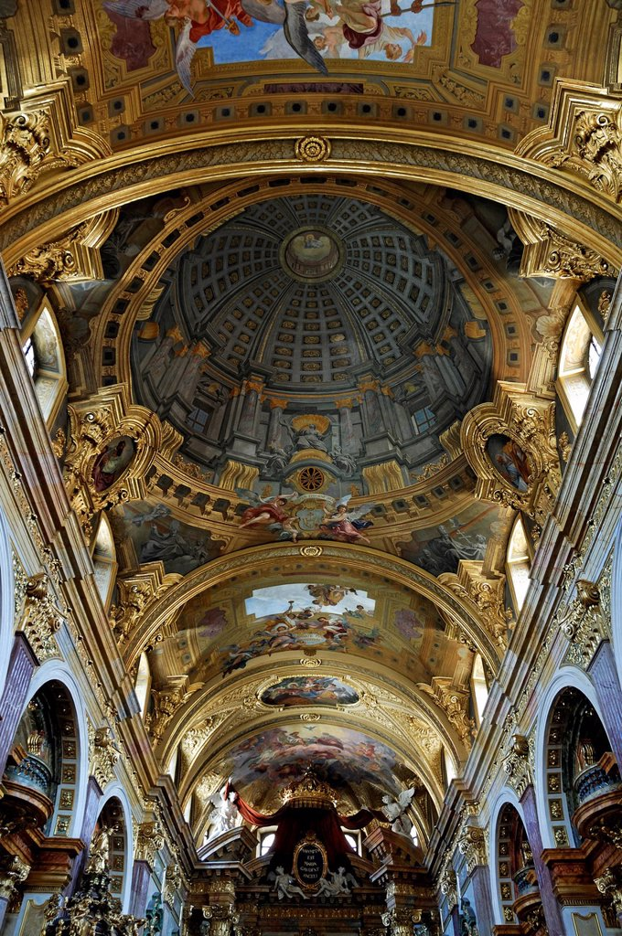 Stock Photo: 1848-567271 Arched ceiling, ceiling painting, 1703, by Andrea Pozzo, creating a perspective optical illusion, Jesuitenkirche church, Doktor_Ignaz_Seipel_Platz square 1, Vienna, Austria, Europe
