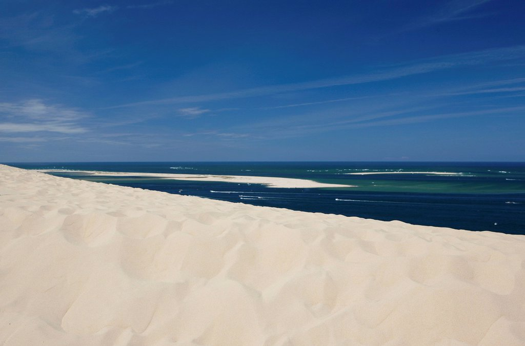 Stock Photo: 1848-567786 View towards the Atlantic Ocean from the Dune of Pilat, Pyla_sur_Mer, Arcachon, south of France, France, Europe