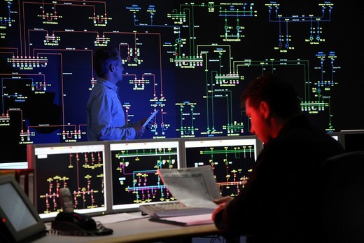 Stock Photo: 1848-56783 Power Control Centre of the ELE, Emscher Lippe Energie GmbH, a subsiduary of the RWE, control room of the regional energy network for gas and electricity, Gladbeck, North Rhine_Westphalia, Germany, Europe