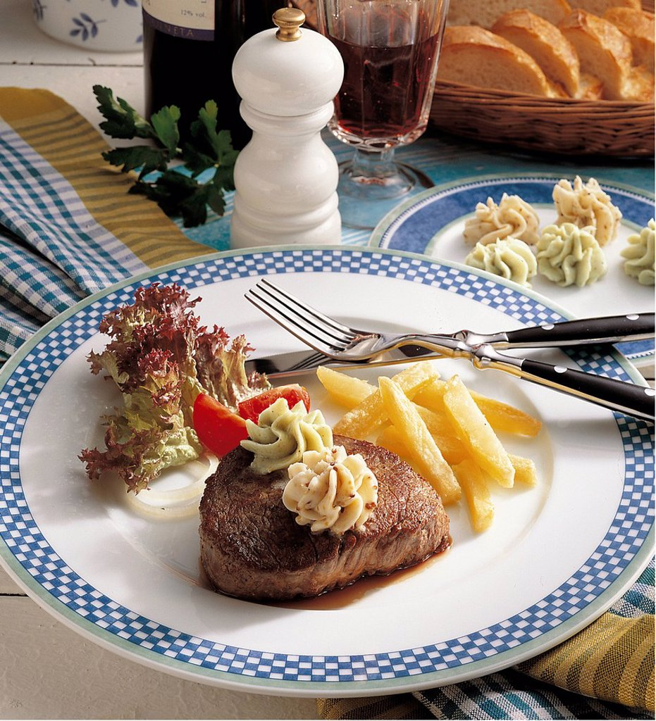 Beef fillet with two kinds of butter, France, recipe available for a fee : Stock Photo
