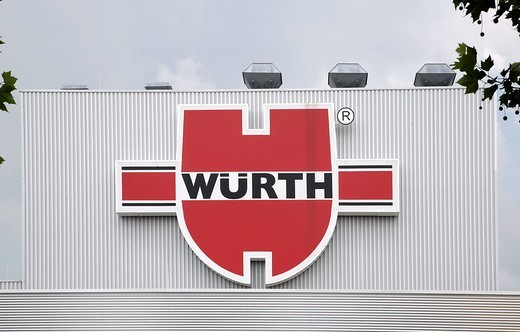 Stock Photo: 1848-56809 Logo of the Adolf Wuerth GmbH and Co.KG, businessgroup for fixing material, installation material and tools in Kuenzelsau, Baden_Wuerttemberg, Germany, Europe