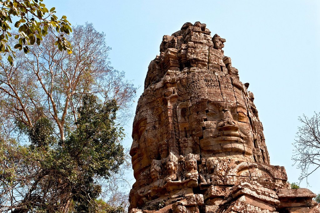 Stock Photo: 1848-568263 Faces of a tower, Angkor, Cambodia, Southeast Asia, Asia
