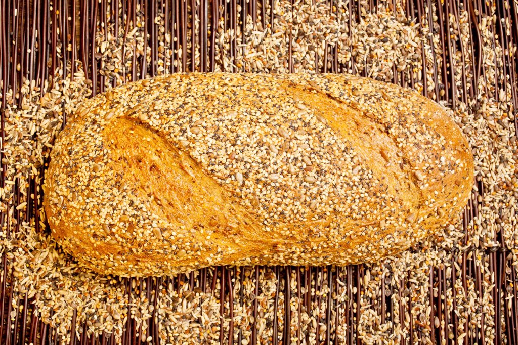 A fresh vitality bread with various grains : Stock Photo