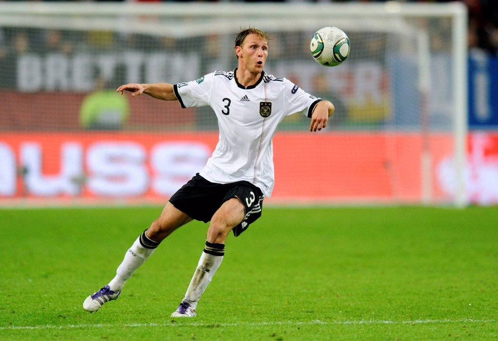Stock Photo: 1848-568879 Benedikt Hoewedes, Germany, football qualification match for the UEFA European championship 2012, Germany _ Belgium 3:1, ESPRIT Arena, Duesseldorf, North Rhine_Westphalia, Germany, Europe