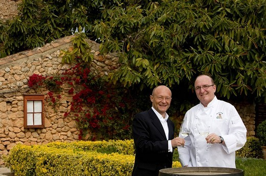 Stock Photo: 1848-56898 Winemaker Prof. Michael Popp, left, Peter Himbert, head chef of the Molí des Torrent restaurant, Santa María del Camí, Majorca, Balearic Islands, Spain, Europe