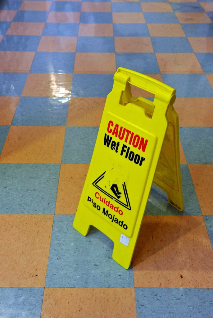 Sign, caution, wet floor, Washington DC, District of Columbia, USA : Stock Photo