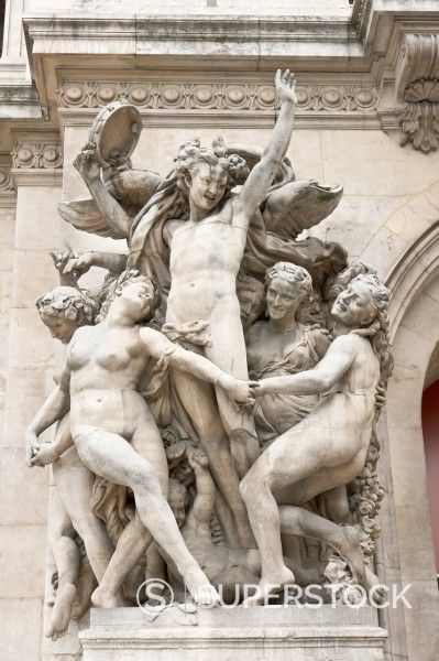 Stock Photo: 1848-568999 ´´La Danse´´, Dance, allegorical sculpture by Jean_Baptiste Carpeaux, façade of Opéra Garnier, Paris, France, Europe