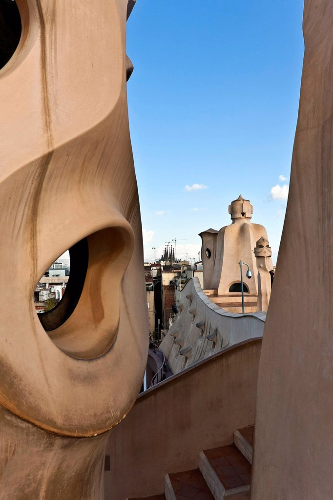 Stock Photo: 1848-569022 Chimneys on the roof of the Casa Mila by Antoni Gaudi, UNESCO World Heritage Site, Barcelona, Catalunya, Catalonia, or Cataluna, Spain, Europe