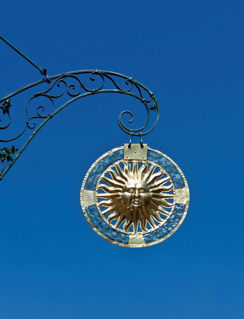 Sun, restaurant sign, Baden_Wuerttemberg, Germany, Europe, PublicGround : Stock Photo