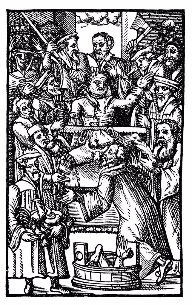 Stock Photo: 1848-569051 Historic print, 1570, page of a book by Johannes Nas or Nasus, 1534 _ 1590, Franciscan and suffragan bishop of Brixen, from the Bildatlas zur Geschichte der Deutschen Nationalliteratur, an illustrated atlas by Gustav Koennecke, 1887