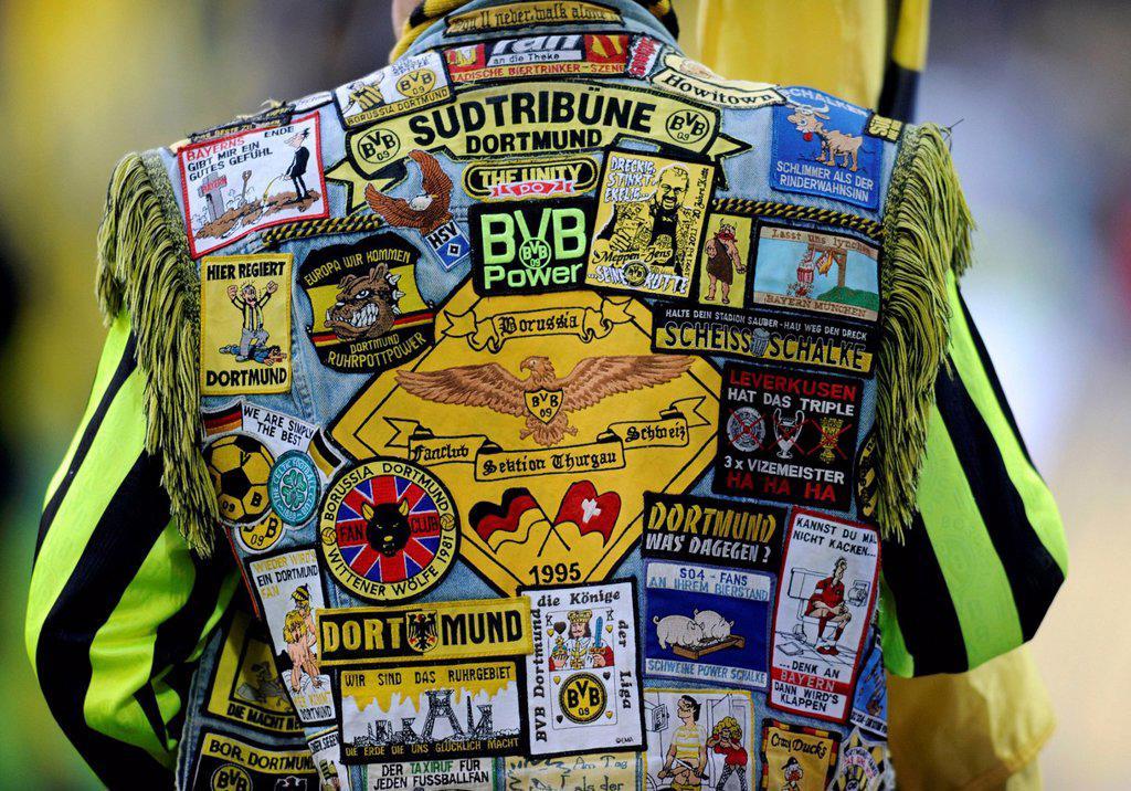 Stock Photo: 1848-569065 Vest of a BVB fan patched with badges, Bundesliga, German federal league, Borussia Dortmund _ FC Schalke 04 2:0, Signal Iduna Park, Dortmund, North Rhine_Westphalia, Germany, Europe