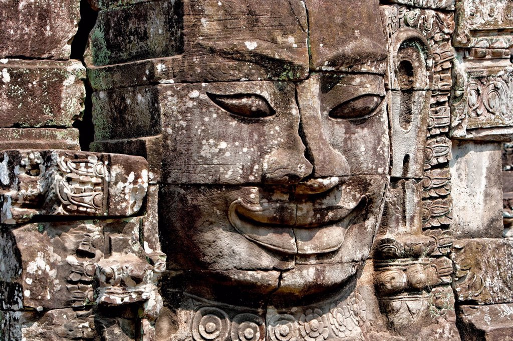 Stock Photo: 1848-569184 Face tower, Angkor Thom, Bayon temple, Cambodia, Southeast Asia, Asia