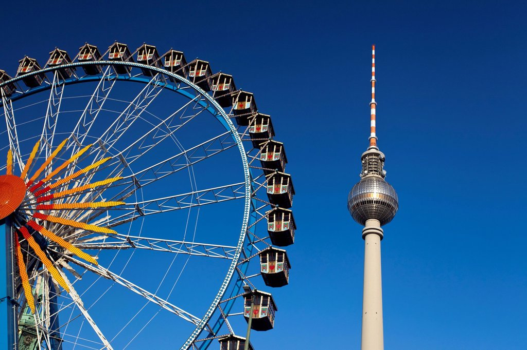 Stock Photo: 1848-569270 Fernsehturm television tower and Ferris wheel against a blue sky, Berlin, Germany, Europe, PublicGround