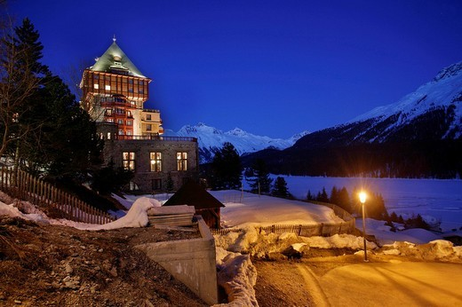 Stock Photo: 1848-56942 Hotel Palace and view onto the minor summit Muottas Muragl in the evening, St. Moritz, Oberengadin, Graubuenden, Switzerland