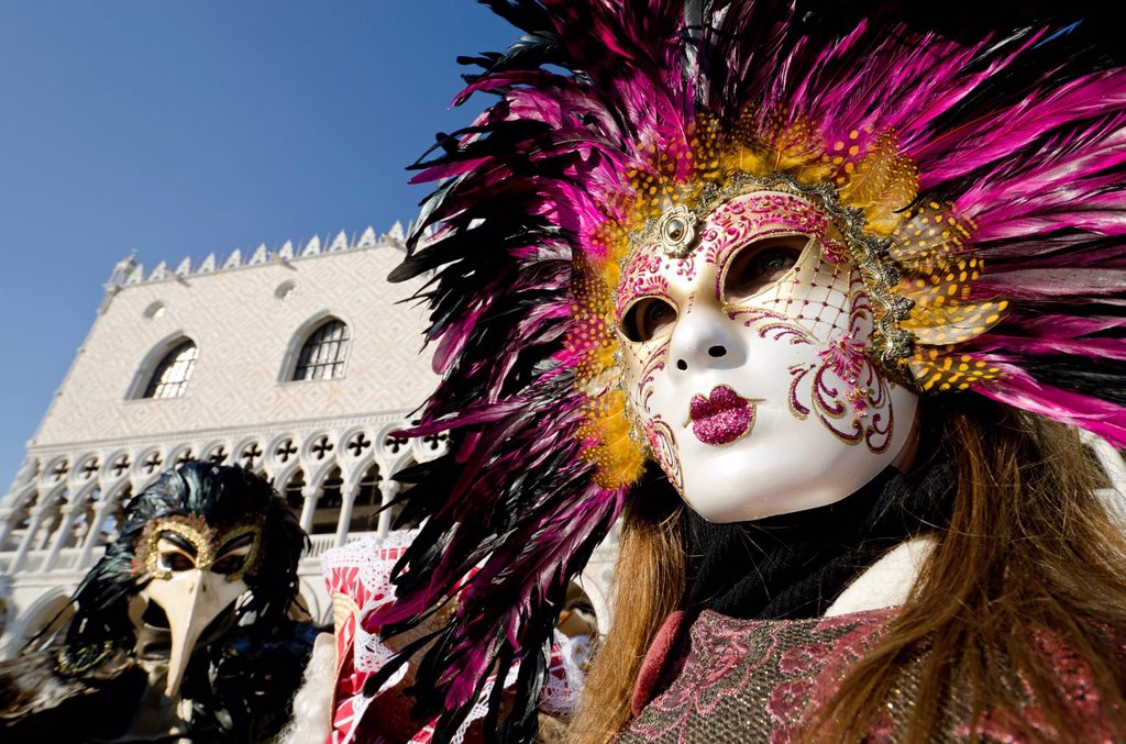 Venetian masks, Carnival of Venice, Venice, Veneto, Italy, Europe : Stock Photo